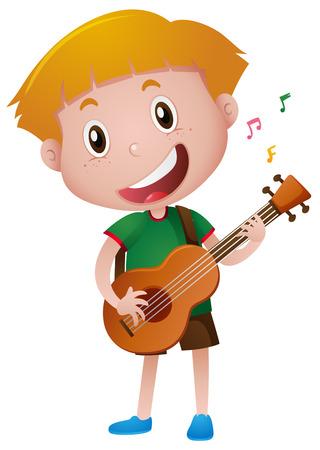 Little boy playing guitar alone illustration  イラスト・ベクター素材
