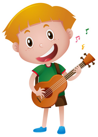Little boy playing guitar alone illustration Иллюстрация