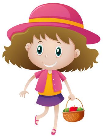 fruits in a basket: Little girl holding basket of fruits illustration Illustration