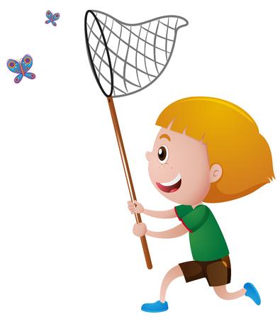 Boy captura de mariposas con la ilustración de la red Ilustración de vector
