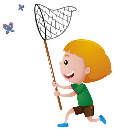 Boy catching butterflies with net illustration Illustration
