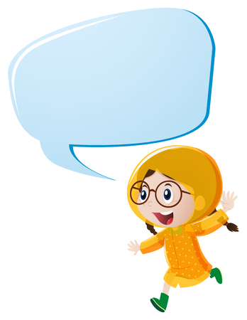 Speech bubble template with girl in yellow raincoat illustration