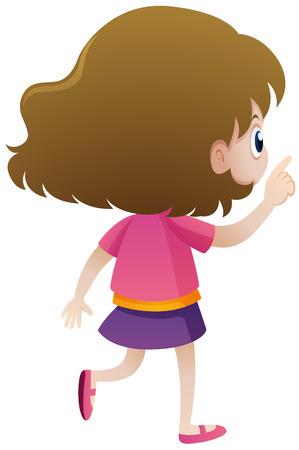 Back of little girl in pink shirt illustration