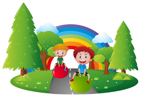 ball park: Two boys playing with ball in park illustration