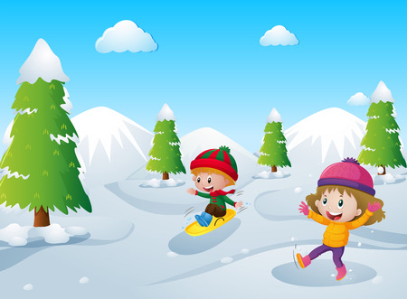 Two kids playing with snow illustration Illustration