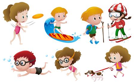 Kids doing different activities illustration Vectores