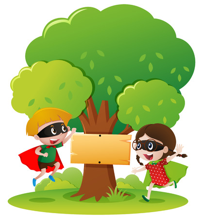 national hero: Sign template with two kids in hero outfit illustration