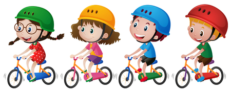 Four kids riding bike with helmet on illustration