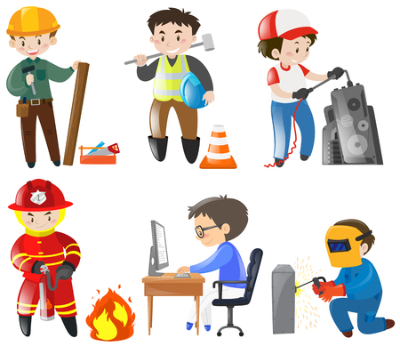 jobs: People working different jobs illustration