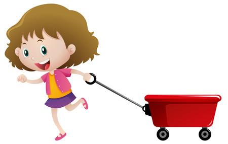 Happy girl pulling red wagon illustration