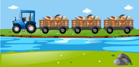 wagons: Tractor and wagons loaded with stones illustration