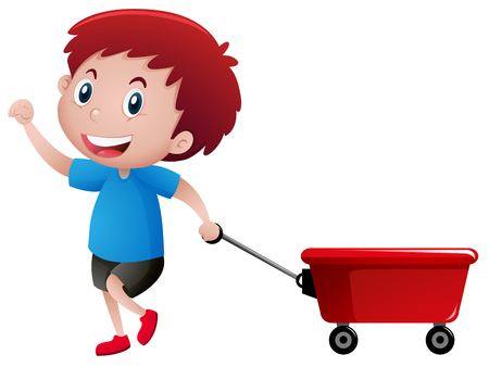 Happy boy pulling red wagon illustration