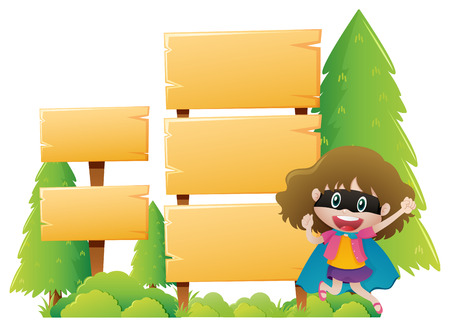 Wooden sign template with girl wearing mask illustration