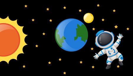 floating: Astronaunt floating in the dark spack illustration