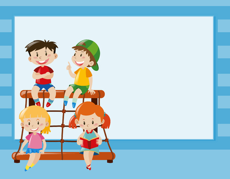 bulletin: Border template with kids on climbing station illustration