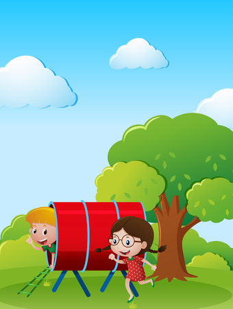 pals: Two kids playing in the park illustration