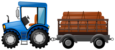 loaded: Blue tractor loaded with logs illustration Illustration