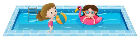 スイミング プールの図で遊ぶ二人の少女  イラスト・ベクター素材