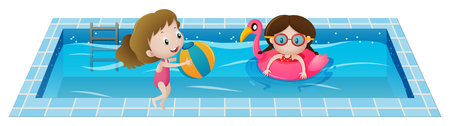 Two girls playing in the swimming pool illustration