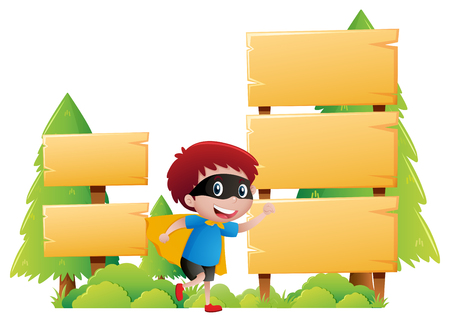 wooden sign template with boy in hero clothes illustration royalty