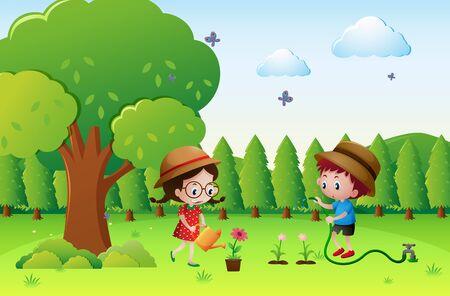 Kids watering plants in garden illustration Illustration