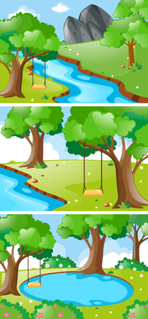 Nature scenes with river and swing illustration Illustration