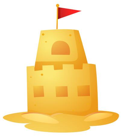 Sandcastle with red flag on top illustration Illustration