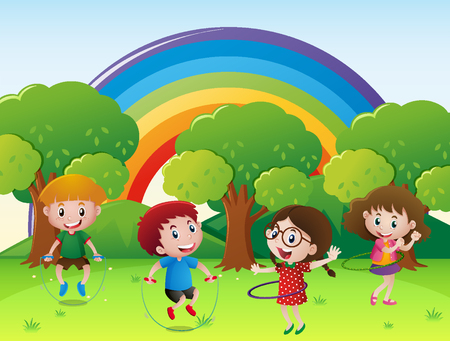 hulahoop: Children jumping rope and playing hulahoop illustration