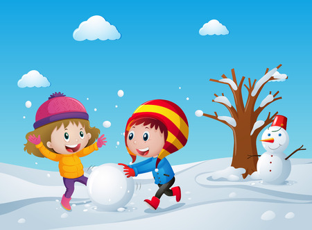 Children playing on the snow field illustration Vectores