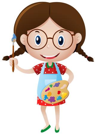 Szczęśliwa dziewczyna z ilustracją pędzla i palety