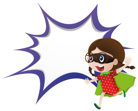 Splash border template with girl in hero outfit illustration Illustration