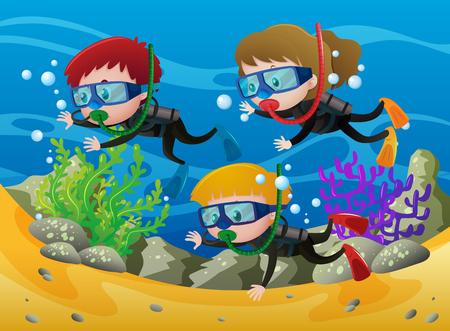 Three kids scuba diving under the sea illustration