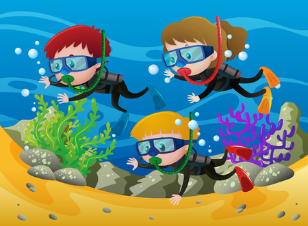 Three kids scuba diving under the sea illustration