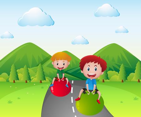 big ball: Two boys bouncing on big ball  illustration