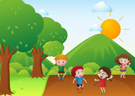 hulahoop: Four kids exercise in the park illustration