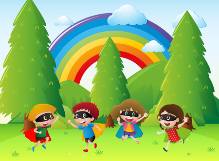 Kids playing hero in the park illustration Illustration