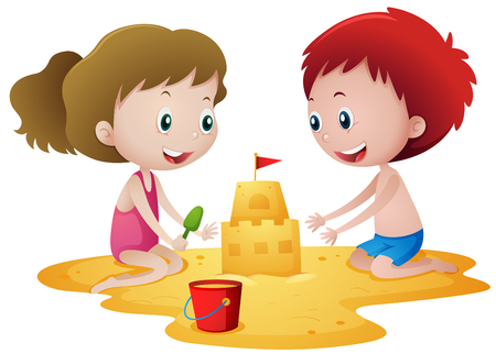 Two kids playing with sandcastle illustration Illustration