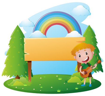 Wooden sign template with boy playing guitar illustration