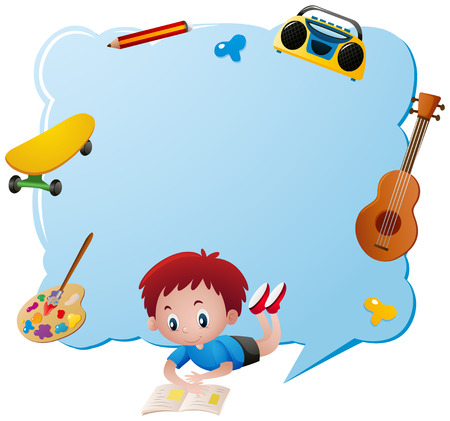 niño parado: Plantilla de borde con ilustración de objetos de niño y escuela