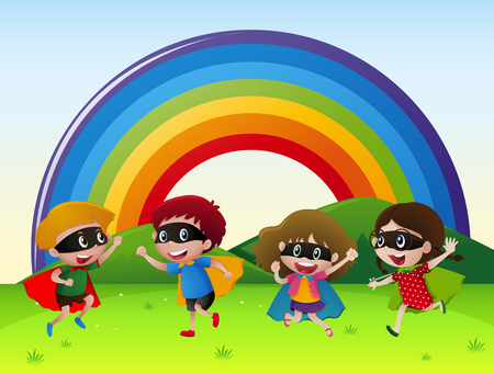 pals: Four kids in hero outfit playing in the park illustration