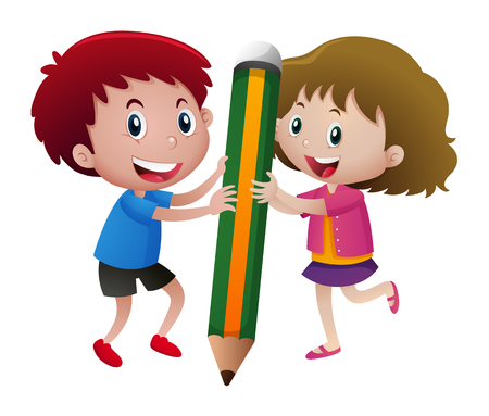 niño parado: Kids writing with big pencil illustration