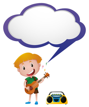 Speech bubble template with boy playing guitar illustration Illustration