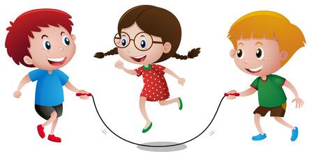 saltar la cuerda: Los niños que juegan el ejemplo de la comba Vectores