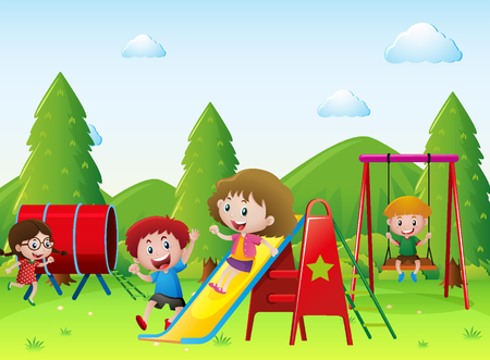 Kids playing together in the playground illustration