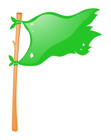 wooden stick: Green flag on wooden stick illustration