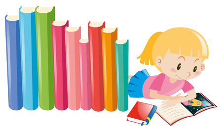storybook: Girl reading storybook alone illustration