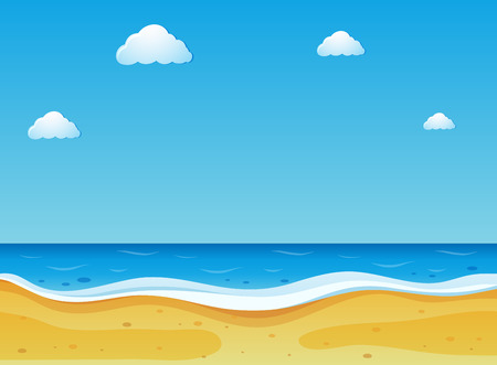 Beach scene with blue sky illustration