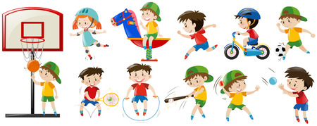 children sport: Children playing different sports and game illustration