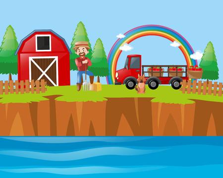 Farmer and dog at the farmyard illustration Illustration