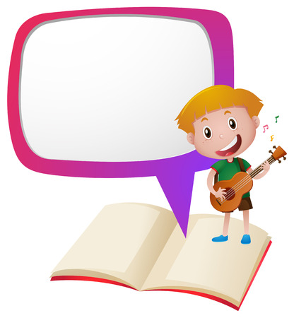 writing instruments: Border template with boy playing guitar illustration Illustration